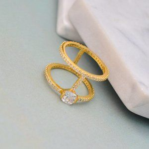 Henri Bendel Zircon Inlaid Double Ring